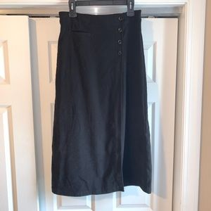 CHRISTOPHER & BANKS Black wrap midi SKIRT 6